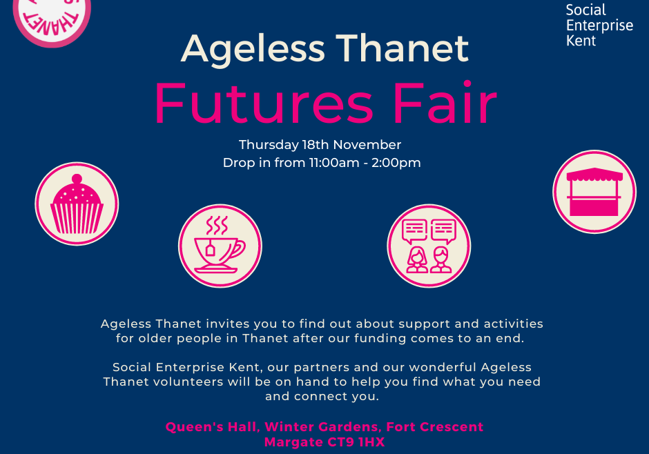 A signposting event taking place on Thursday 18th November at The Winter Gardens, Queens Hall, Fort Crescent, Margate, CT9 1HX.
